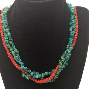 Jewelry - Native Sterling Turquoise Red Coral Necklace